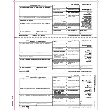 TOPS™ 1099MISC Tax Form, 1 Part, Recipient-Copies B, 2 & 2, White, 8 1/2in. x 11in., 2000 Sheets/Carton