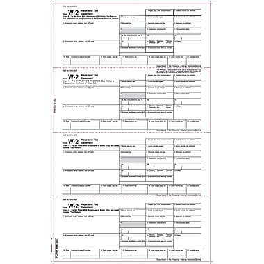 TOPS W-2 Tax Form, 1 Part, Employee's copies, White, 8 1/2 x 14in., 50 Sheets/Pack