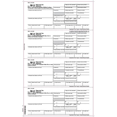 TOPS W-2 Tax Form, 1 Part, White, 8 1/2 x 14in., 2000 Sheets/Carton