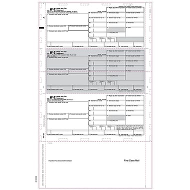 TOPS W-2 Tax Form, 1 Part, 3-up White, 8 1/2 x 14in., 500 Sheets/Pack