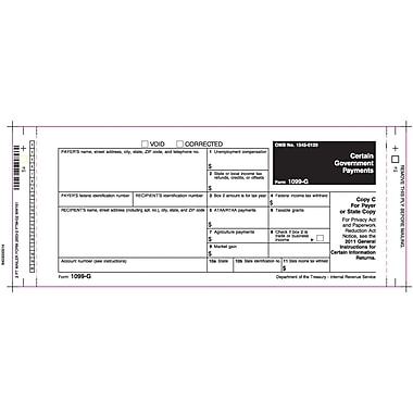TOPS® 1099G Tax Form, 2 Part Mailer, White, 9 x 3 2/3, 102 Forms