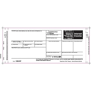 TOPS™ 1099INT Tax Form, 2 Part Mailer, White, 9in. x 3 2/3in., 102 Forms