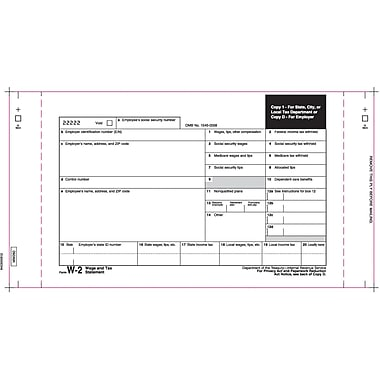 TOPS W-2 Tax Form, 3 Part Mailer, White, 10 1/4in. x 5 1/2in., 100 Forms