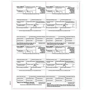 TOPS 1099R Tax Form, 1 Part, Continuous, White, 8 1/2in. x 11in., 2000 Sheets Per Carton