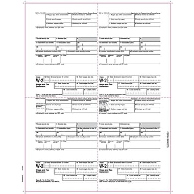 TOPS® W-2 Tax Form, 1 Part, Employee's copies cut sheet, 24 lb, White, 8 1/2