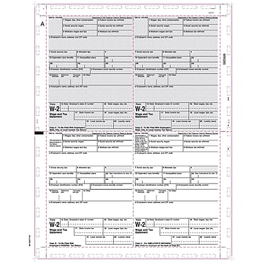 TOPS W2 Tax Form, 1 Part, White, 8 1/2in. x 11in., 500 Sheets/Pack