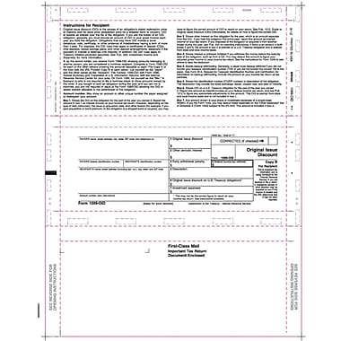 TOPS 1099OID Tax Form, 1 Part, White, 8 1/2in. x 11in., 500 Sheets/Pack