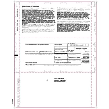 TOPS 1099INT Tax Form, 1 Part, White, 8 1/2in. x 11in., 500 Sheets/Pack