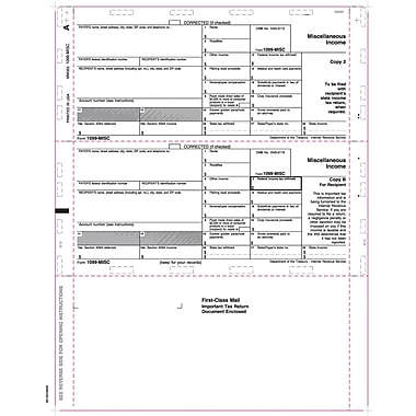 TOPS 1099MISC Tax Form, 1 Part, Cut Sheet, White, 8 1/2in. x 11in., 500 Sheets/Pack