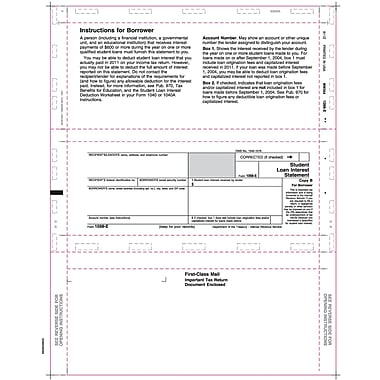 TOPS 1098E Tax Form, 1 Part, White, 8 1/2in. x 11in., 500 Sheets/Pack