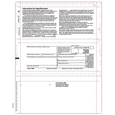 TOPS 1098 Tax Form, 1 Part, White, 8 1/2in. x 11in., 500 Sheets/Pack