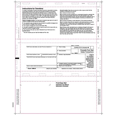 TOPS 1099S Tax Form, 1 Part, White, 8 1/2in. x 11in., 500 Sheets/Pack