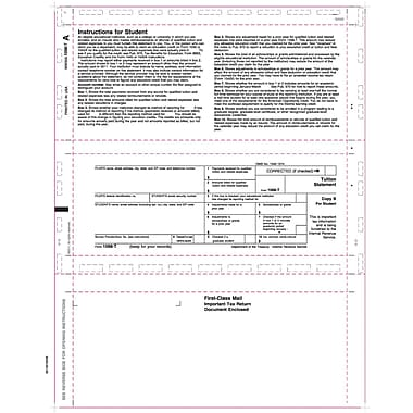 TOPS 1098T Tax Form, 1 Part, White, 8 1/2in. x 11in., 500 Sheets/Pack