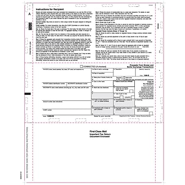 TOPS 1099B Tax Form, 1 Part, White, 8 1/2in. x 11in., 500 Sheets/Pack