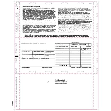 TOPS 1099INT Tax Form, 1 Part, Cut Sheet, Z-fold, White, 8 1/2in. x 11in., 500 Sheets/Pack
