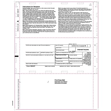 TOPS 1098INT Tax Form, 1 Part, White, 9 1/2in. x 11in., 2000 Forms/Carton