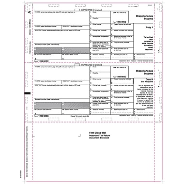 TOPS® 1098MISC Tax Form, 1 Part, White, 9 1/2