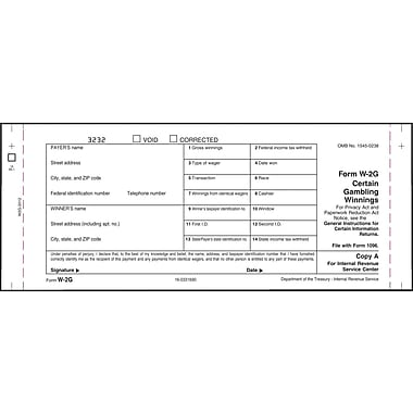 TOPS W2G Tax Form, 6 Part, White, 9in. x 11in., 102 FM/PK