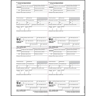 TOPS® W-2 Tax Form, 1 Part, Employer's copies cut sheet, 24 lb, White, 8 1/2 x 11, 2000 Sheets/Carton