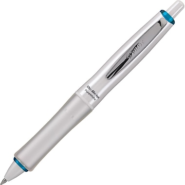 Pilot Dr. Grip PureWhite Retractable Advanced Ink Ball Point Pen, Medium Point, Blue Accent, Black Ink (36206)