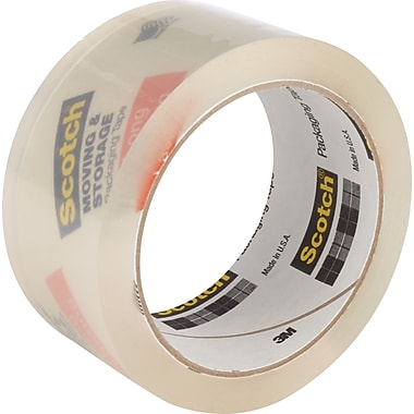 Scotch® Moving and Storage Tape, Clear, 1.88in. x 54.6 yds, 3 Rolls