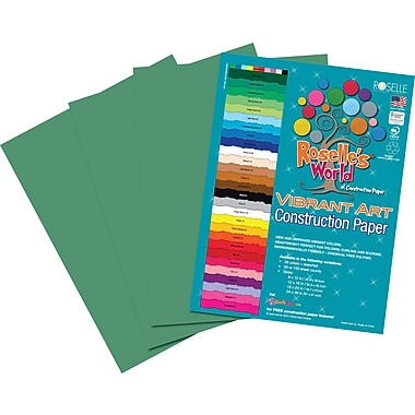 Roselle Vibrant Art Construction Paper, 9in. x 12in., Holiday Green, 50 Sheets