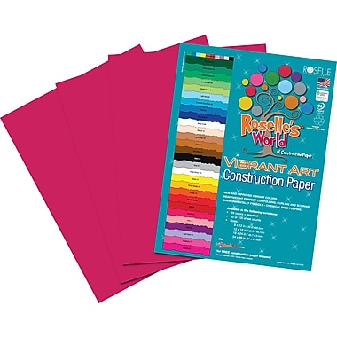 Roselle Vibrant Art Construction Paper, 12in. x 18in., Scarlet, 50 Sheets