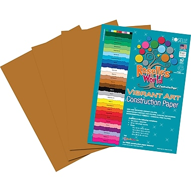 Roselle Vibrant Art Construction Paper, 12in. x 18in., Light Brown, 50 Sheets