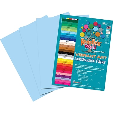 Roselle Vibrant Art Construction Paper, 12in. x 18in., Light Blue, 50 Sheets