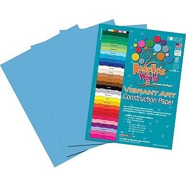 Roselle Vibrant Art Construction Paper, 12in. x 18in., Turquoise, 50 Sheets