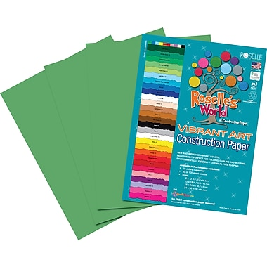Roselle Vibrant Art Construction Paper, 12in. x 18in., Emerald Green, 50 Sheets