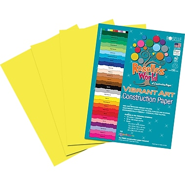 Roselle Vibrant Art Construction Paper, 9in. x 12in., Yellow, 50 Sheets