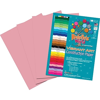 Roselle Vibrant Art Construction Paper, 9in. x 12in., Pink, 50 Sheets