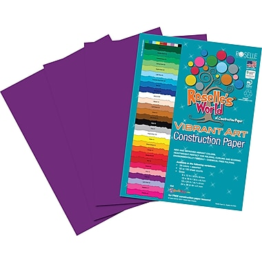 Roselle Vibrant Art Construction Paper, 9in. x 12in., Violet, 50 Sheets
