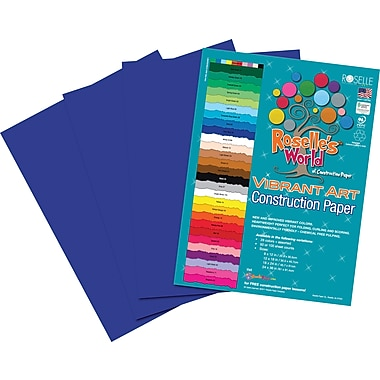 Roselle Vibrant Art Construction Paper, 12in. x 18in., Dark Blue, 50 Sheets