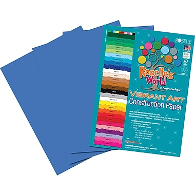 Roselle Vibrant Art Construction Paper, 12in. x 18in., Bright Blue, 50 Sheets