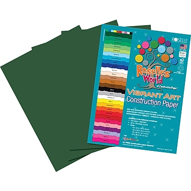 Roselle Vibrant Art Construction Paper, 12in. x 18in., Dark Green, 50 Sheets