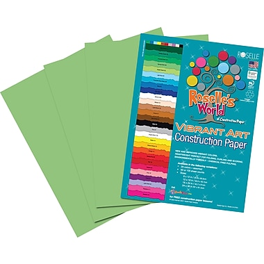 Roselle Vibrant Art Construction Paper, 12in. x 18in., Light Green, 50 Sheets