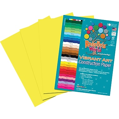 Roselle Vibrant Art Construction Paper, 12in. x 18in., Yellow, 50 Sheets