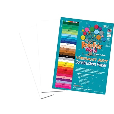 Roselle Vibrant Art Construction Paper, 12in. x 18in., Bright White, 50 Sheets