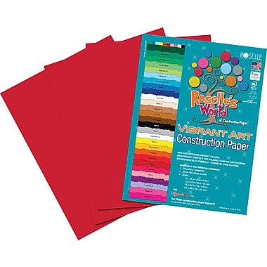 Roselle Vibrant Art Construction Paper, 12in. x 18in., Holiday Red, 50 Sheets