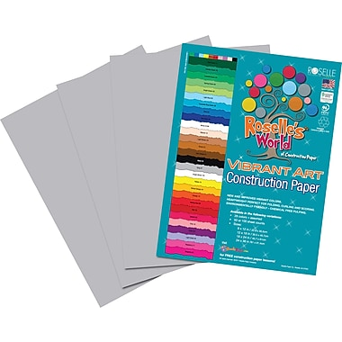Roselle Vibrant Art Construction Paper, 12in. x 18in., Gray, 50 Sheets
