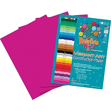 Roselle Vibrant Art Construction Paper, 12in. x 18in., Magenta, 50 Sheets