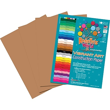Roselle Vibrant Art Construction Paper, 12in. x 18in., Brown, 50 Sheets
