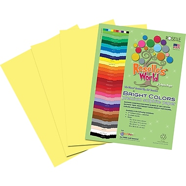Roselle Bright Colors Sulfite Construction Paper, 9in. x 12in., Light Yellow, 50 Sheets