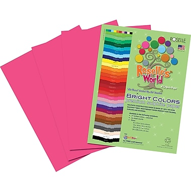 Roselle Bright Colors Sulfite Construction Paper, 9in. x 12in., Hot Pink, 50 Sheets