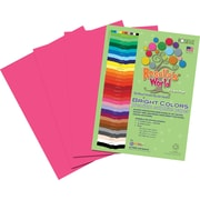 Roselle Bright Colors Sulfite Construction Paper, 9 x 12, Hot Pink, 50 Sheets