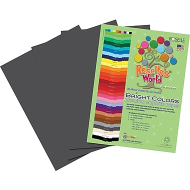 Roselle Bright Colors Sulfite Construction Paper, 9in. x 12in., Gray, 50 Sheets