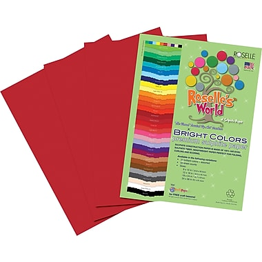 Roselle Bright Colors Sulfite Construction Paper, 9in. x 12in., Festive Red, 50 Sheets