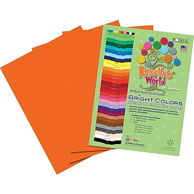 Roselle Bright Colors Sulfite Construction Paper, 9in. x 12in., Orange, 50 Sheets